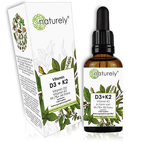naturely® Vitamin D3 + K2 Tropfen inkl. Biohacking eBook - 50 ml - K2VITAL® von Kappa 99.7+% All-Trans MK-7 + bioverfügbares D3 (1000 IE) - flüssig, vegetarisch, laborgeprüft, hergestellt in DE