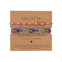 KELITCH 2PCSカラフルストランドブレスレットボヘミアン友情パールビーズブレスレットファッションジュエリー(レッドパープルL)