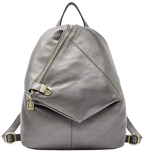 Rucksack aus echtem Leder für Damen Shoulder Fashion Bag Satchel Tagesrucksack, Silber, Medium