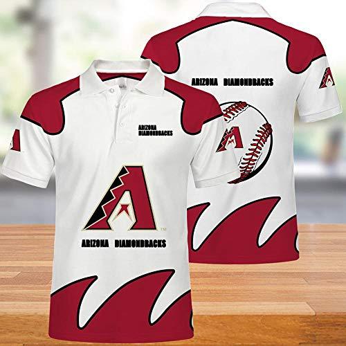 Short Sleeve Tops Männer-T-Shirts Polo-Hemd - MLB Arizona Diamondbacks 3D-Druck Unisex T-Shirt Beiläufiger Sommer Kurzarmshirts - Jugendliche Geschenke -Für Radfahren White + Red-XXL