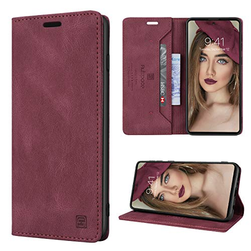 GANKER Handyhülle für Samsung Galaxy A51 Hülle Premium Leder [RFID Schutz] Flip Hülle Magnetisch Klapphülle Lederhülle TPU Bumper Schutzhülle für Samsung Galaxy A51 4G Hülle - Wein Rot