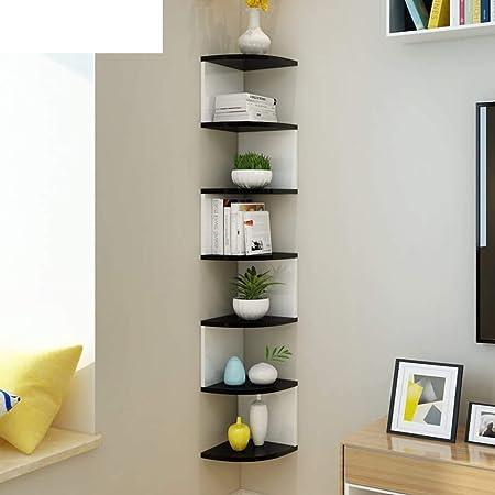 SAW SAQIB ALI WOODEN HANDICRAFTS Engineered Wood MDF- Medium Density Fiber Glossy Zig zag Corner Rack Shelves for Living and Bedroom Decoration (Black/White, Large)