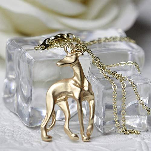 VAWAA Collar de Galgos Galgo Adoptar Rescate Whippet Perro Forma Oro Relleno Bronce Inspirado Collar de Cadena para Las Mujeres