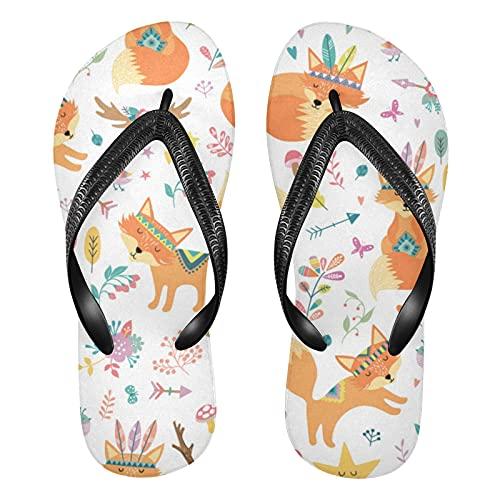 Linomo Chanclas de dedo para hombre y mujer, estilo bohemio, con diseño de zorro, para verano, para la playa, color Multicolor, talla 43/44 EU