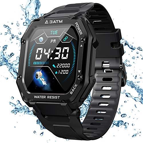 KOSPET Rock Smartwatch Wasserdicht 3ATM, 1,69 Zoll Sportuhr mit Blutdruckmessung, Herzfrequenz Messgerät, Schrittzähler Fitness Tracker, 14 Tage+ Spielzeit Outdoor Smart Watch für Herren
