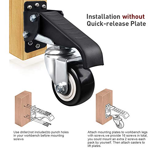 SPACECARE Workbench Casters Heavy Duty Retractable Casters,600 Lbs Capacity Set of 4 Stepdown Casters Wheels or Workbenches Tables and Equipments,Side Mounted Adjustable Table Casters