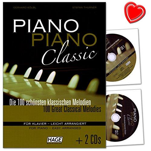 Piano Piano Classic - 100 mooiste klassieke melodieën voor piano - licht gearrangeerd door Gerhard Kölbl en Stefan Thurner - notenboek met 2 cd's en muziekklem - EH3777-9783866261129
