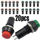 sourcingmap 20pcs Pulsador interruptor moment/áneo de metal AC 125V 3A 12mm Abierto Normal SPST verde