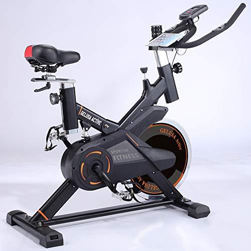 gelusa. Bicicleta estática Ciclo Indoor Spinning con Amortiguador Active, Volante de Inercia 18 kg, Pantalla LCD