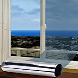 FOCHEA Fensterfolie Selbsthaftend Sonnenschutz Spiegelfolie für Sonnenschutz Fenster Außen und Innen, Sonnenschutzfolie für Schlafzimmer UV-Schutz Silber (60 x 400 cm)