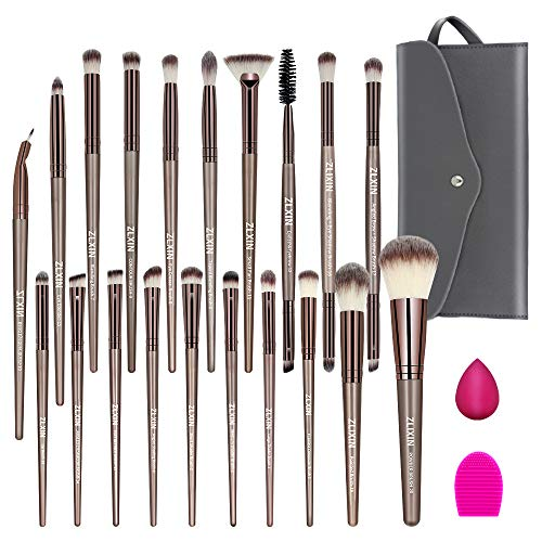 ZLXIN Makeup Brushes Set 23 Pcs Premium Synthetic Kabuki Foundation Face Powder Blush Concealers Eye Shadows Make Up Brushes Kit with Storage Bag Blender Sponge and Brush Cleaner Gold