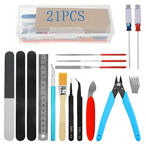 Bigstone 21 PCS Gundam Model Tools Kit Hobby Building Tools Set for Cars, Airplanes, Buildings,...