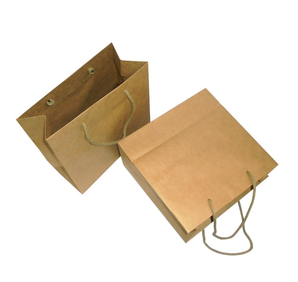 Unidades 5 Bolsa de papel Avana Beige con asa de cuerda estuche de cartón sobre para regalo: Amazon.es: Hogar