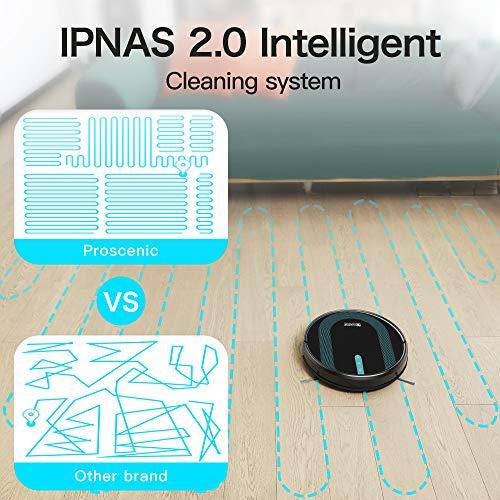 Proscenic 850T WLAN Saugroboter, Staubsauger Roboter, Alexa & Google Home & Appsteuerung, Saugroboter mit Wischfunktion, 3000Pa Saugleistung auf Teppichen und Hartböden, Magnetband für Begrenzung - 6