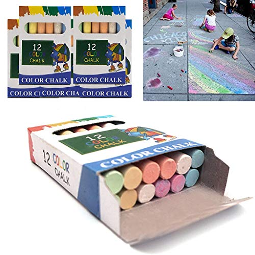 Color Chalk for Kids - 5 Pack Dust Free Chalk Pavement Chalk for Kids Won't Roll Away Sidewalk Chalk Perfect Easter Basket Stuffers for Toddlers (60-Piece in Total)