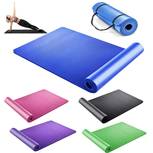 DayPlus Yogamatte rutschfest Gymnastikmatte Extradick 1,5cm Pilatesmatte Fitnessmatte mit Tragegurt - Yoga Matte 180cm Länge 61cm Breite - Blau