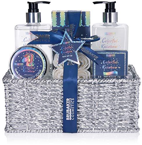 BRUBAKER Cosmetics 10-tlg. Einhorn Bade- und Dusch Set Colorful Rainbow - Geschenkset mit Vanille Lavendel Duft in Geschenkkorb Silber