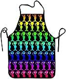 BONRI Uomo Donna Cucina Chef Bavaglino Grembiule Cravatte Extra Lunghe Grembiule da cucina Grembiuli personalizzati durevoli per Barbecue Cucina Cottura Forno Ristorante - Funny Rainbow Aliens, M