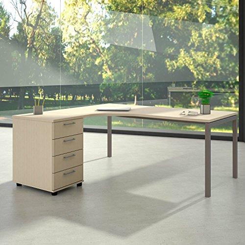 Winkelschreibtisch mit Standcontainer NOVA XL 180x163cm Ahorn Eck-Schreibtisch, Gestellfarbe:Silber