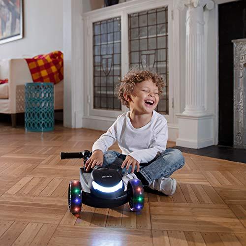 Jupiter 3-Wheel Kick Scooter, Black - Lean to Steer, Rear Foot Brake, LED Light up Stem, Wheels and Deck