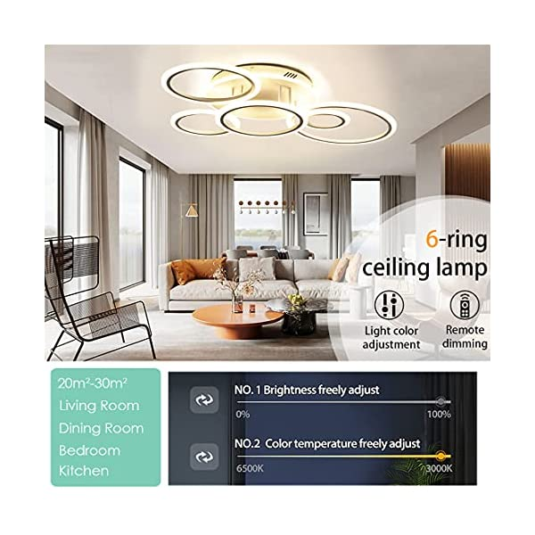 Modern Led Ceiling Light Fixture for Living Room Bedroom Dimmable Close to Ceiling Light Fixture with Remote 69W Modern…