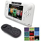 EASEGMER 16 Bit Handheld Games Built-in 2000+ Classic Retro Games 4 Inch Electronic Game Player with 16G TF Card Perfect Support GBC/GG/MD/FC/SMS/SG/GB/SFC/AR, Birthday Gifts for Kids & Adult (White)