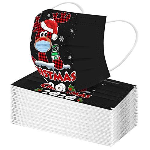 SicongHT 50/100 Stück Weihnachts Druck Mundschutz, Weihnachten Staubschutz Atmungsaktive Face Bandana, Erwachsene Einweg Halstuch Bandana Mund und Nasenschutz Mund-Nasen Bedeckung(50 Stück,A)