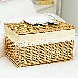 Cestas hechas a mano Caja de almacenamiento Cubierta grande Cubierta Rattan Acabado Caja Cajón Ropa...