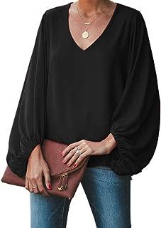 Womens V Neck Chiffon Blouses Tops Oversized Long Lantern Sleeve Pullover Shirts