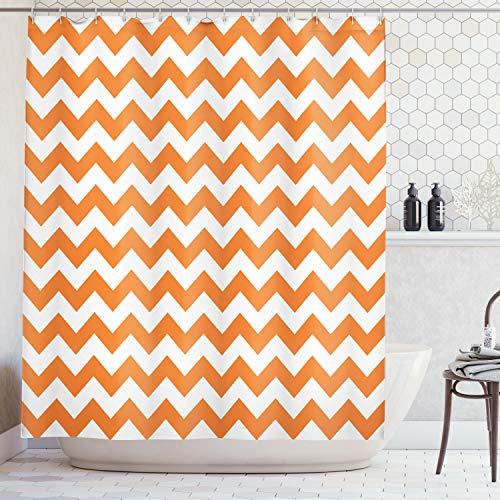 ABAKUHAUS Duschvorhang, Moderne Sommersaison Muster Zickzack Entwurf Symmetrisch Gewelltes Orange Horizontales Druck, Blickdicht aus Stoff inkl. 12 Ringe für Das Badezimmer Waschbar, 175 X 200 cm
