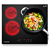 AMZCHEF Placa Vitrocerámica 3 Zonas con 9 Niveles de Cocción, 5880W, Doble Zona, Apagado Automático, Temporizador, placas de vitrocerámica de 60 cm para arroz de marisco, bistec, sopa