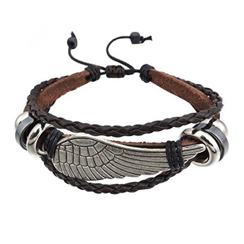 Diseño moderno:Esta pulsera con alas tiene el diseño más chulo y, por lo tanto, combina perfectamente con cualquier prenda. De gran calidad:esta pulsera es de cuero y acero inoxidable. Regulable:gracias a la elasticidad relativa de este brazalete, el...