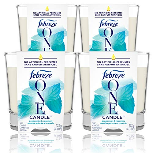 Febreze One Candle Air Freshener, Peppermint & Rosemary, 4 Count