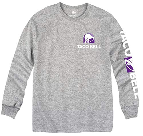 Ripple Junction Taco Bell Horizontal Logo Long Sleeve Crew T-Shirt Large Heather Grey