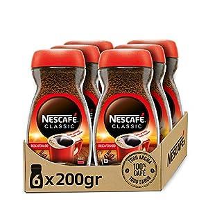 NESCAFÉ CLASSIC DESCAFEINADO todo aroma y sabor, café soluble descafeinado, frasco de vidrio, Pack de 6 x 200 g.