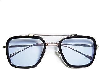 نظارات الرجل العنكبوت إيديث، إطار معدني مربع عتيق لذكر أنثى نظارات شمسية كلاسيكية داوني أيرون مان توني ستارك - أبيض