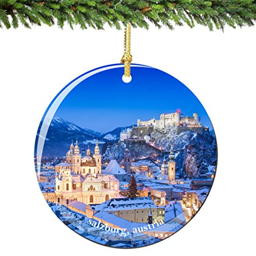 Tiukiu Salzburg Christmas Ornament of Austria In Porcelain