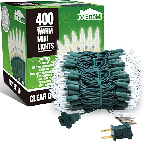 4 Sets 100 Counts Clear Green Wire Christmas Light, Warm White Lights for Indoor or Outdoor Christmas Decorations