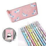 SmileStar - Lote de 10 bolígrafos de unicornio de colores y estuche y unicornio, para lápiz, unicornio, para los amantes de los flamencos y los unicornios, un gran regalo para una niña, color Rosa