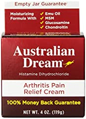 PAIN RELIEF CREAM – Australian Dream Arthritis Pain Relief Cream is for the temporary relief of minor aches and pains of muscles and joints associated with arthritis, simple backache, sprains, strains and bruises. PENETRATING RELIEF – This pain cream...