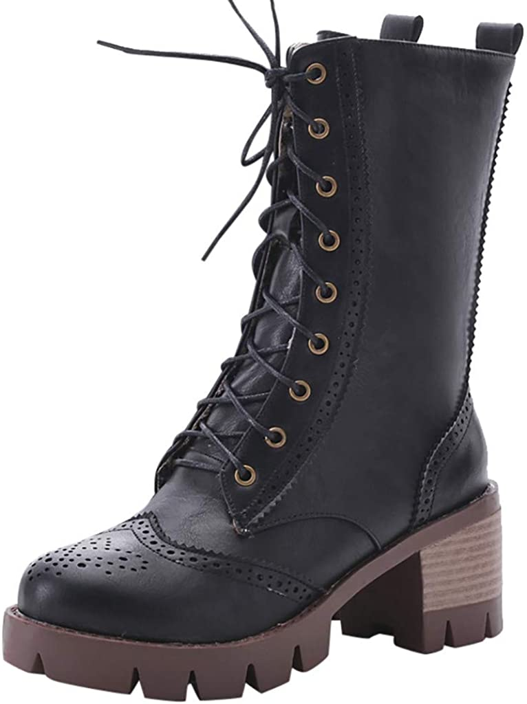 LATINDAY Women's Strappy Lace-Up Knee High Combat Stacked Heel Boot
