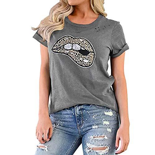 T-Shirts Donna Manica Corta con Stampa Leopardata Maglietta a Girocollo Estiva Maglietta Comoda e Comoda con Foro Traspirante Moda Casual Top XL