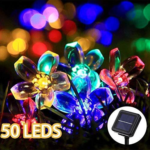 Waterdichte solar-LED-buitenverlichting, zonnelampen, 50 leds solar flower lights waterdichte buitenverlichting voor terras, tuin, bruiloft, feest (multicolor)
