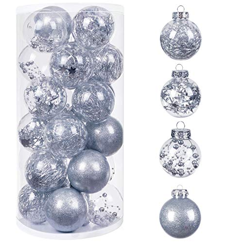 bestwishes 24Pcs Christmas Balls Ornaments, 7mm/2.76' Small Shatterproof Christmas Baubles for Xmas Christmas Tree, Hanging Ball for Holiday Wedding Party Decoration (Silver, 2.76' 24pcs)