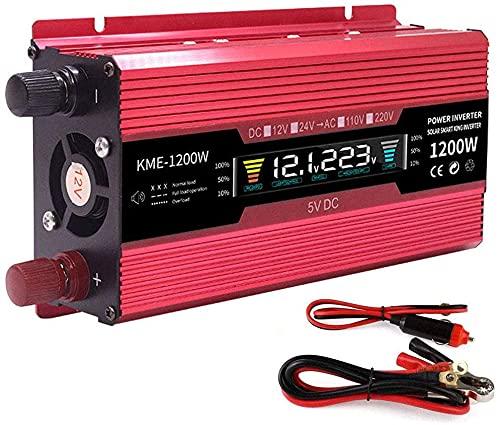 Wxnnx Inversor de Corriente para Coche 600/1200/2000 W Convertidor de Corriente DC 12/24 V a AC 110/220 V con Interruptor controlable y Puerto USB, Clip de batería de Coche,1200w,24Vto220V