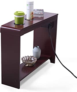 JAXSUNNY Chair-Side End Table with 2 Cup Holder, 2 USB and 3 Power Outlet Dark Brown Wood Finish Home Office