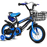 TXTC Mountain Bike For Boys Girls,Kids Bike With Training Wheels Rear Shelf And Disc Brake,Balance Bike,cruiser Bike,For 3-10 Years Old Child's Cycling (Color : Blue-b, Size : 18 inches)