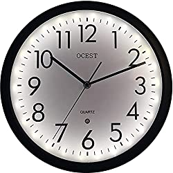 OCEST 12 Inch Luminous Wall Clock, Non-Ticking Night Light Wall Clock Battery Operated, Glow in The Dark Wall Clock for Bedroom Corridor Kitchen Living Room Décor