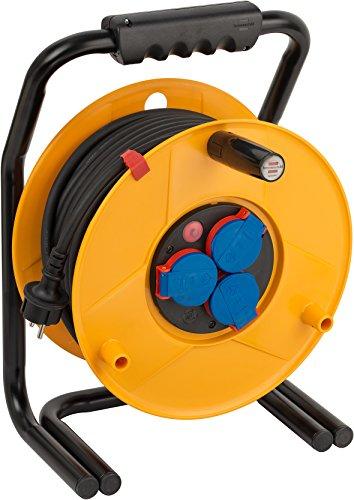 Brennenstuhl Brobusta IP44 Gewerbe-/Baustellen-Kabeltrommel, 40m - Spezialkunststoff (Baustelleneinsatz und Einsatz im Außenbereich, Made in Germany) gelb