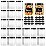 24 Pack Plastic Jars with Lids, Aoeoe 8 oz Plastic Mason Jars, Clear Slime Containers, Round Storage Jars Bulk, Wide-Mouth Jars for Kitchen and Household Food Storage of Dry Goods, Creams and More